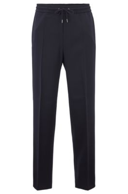 Kortere relaxed-fit broek van stretchwol, Donkerblauw