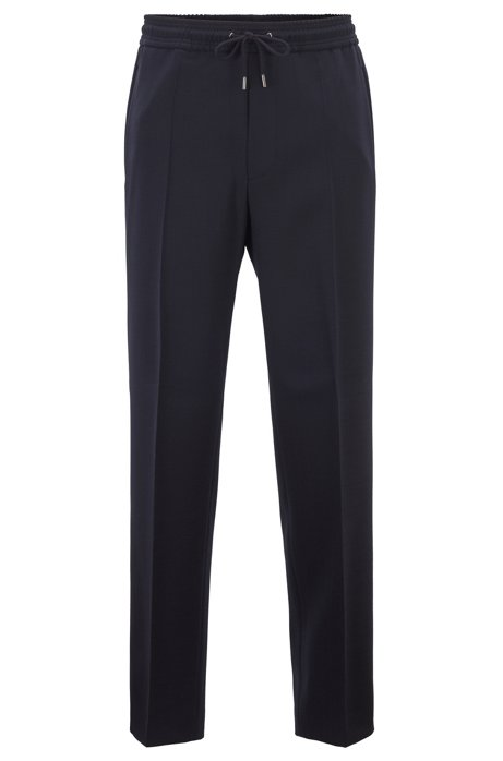 Relaxed-fit cropped trousers in stretch wool, Dark Blue
