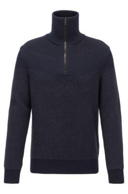 Gebreide trui met V-vormige intarsia en dubbelzijdige ritssluiting, Donkerblauw