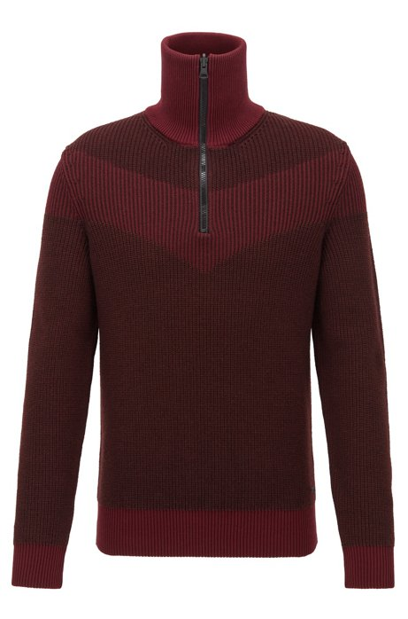 Knitted sweater with V-shaped intarsia and reversible zip, Dark Red