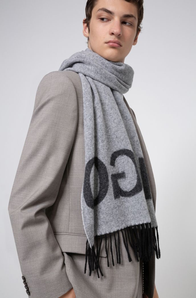Reverse-logo scarf in a wool-blend jacquard