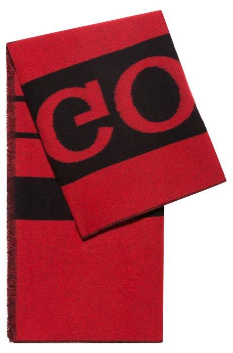 Bufanda tipo manta en mezcla de lana virgen con logo invertido, Rojo