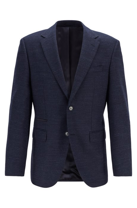 Regular-fit micro-patterned jacket with elbow patches, Dark Blue
