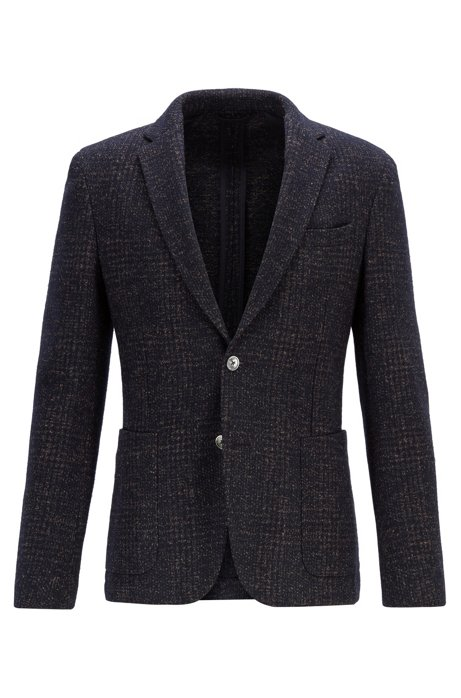 Slim-fit jacket in a checked wool blend, Dark Blue