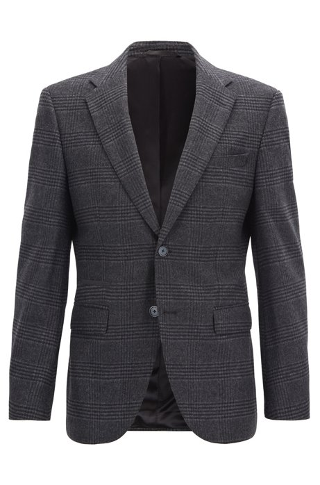 Checked regular-fit jacket with elbow patches, Dark Grey