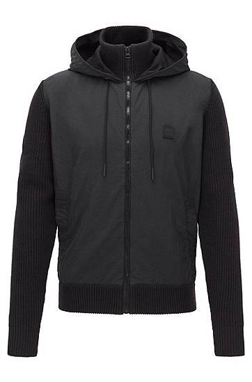 Boss Hooded jacket in hybrid materials with knitted details