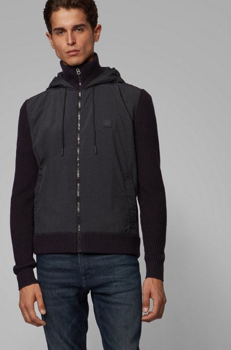 Hooded jacket in hybrid materials with knitted details, Dark Blue