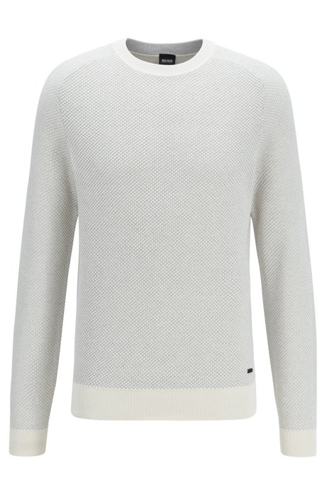 Two-tone structured jacquard sweater in recycled yarn, White