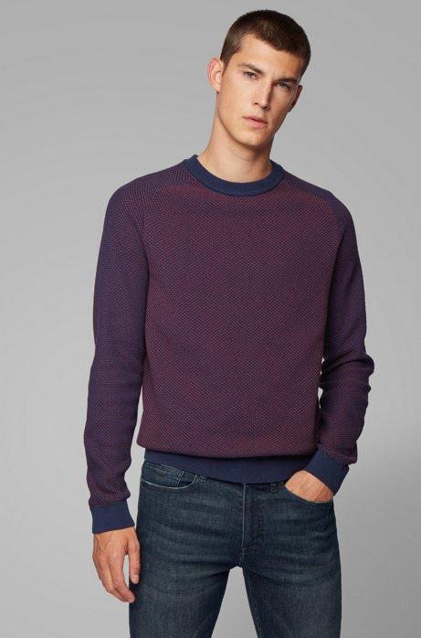 Zweifarbiger Pullover aus recyceltem Gewebe mit Jacquard-Struktur, Lila