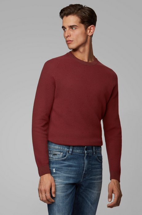 Two-tone structured jacquard sweater in recycled yarn, Dark Red