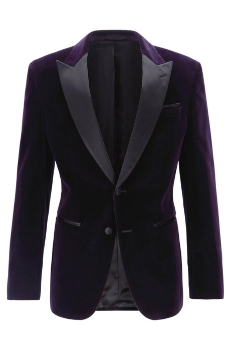 Slim-fit dinner jacket in velvet with silk trims, Dark Purple