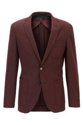 Veste Extra Slim Fit en laine mélangée à micromotif, Rouge sombre