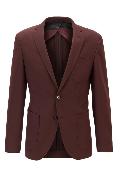 Extra-slim-fit jacket in a micro-patterned wool blend, Dark Red