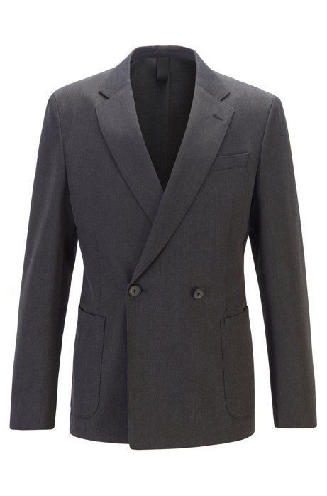 Double-breasted slim-fit jacket in virgin wool, Dark Grey