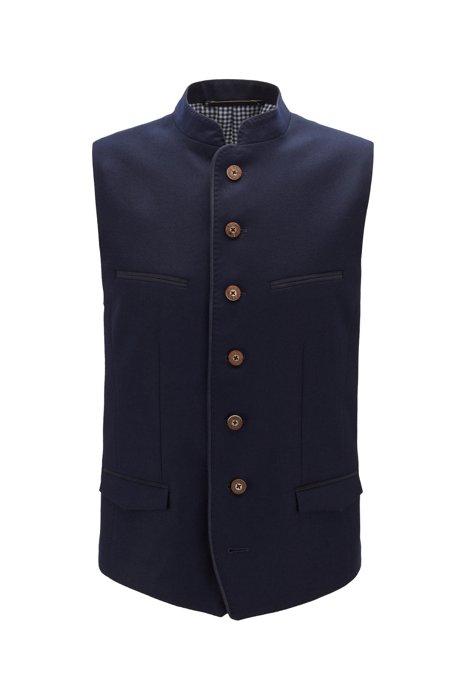 Oktoberfest-style slim-fit waistcoat in melange virgin wool, Dark Blue