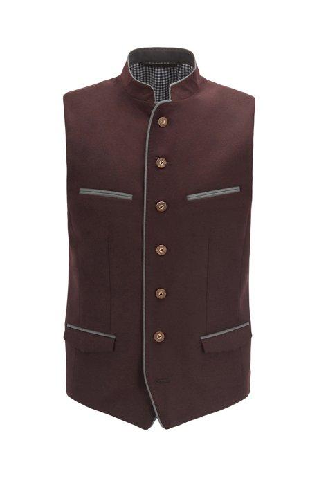 Oktoberfest-style slim-fit waistcoat in melange virgin wool, Dark Red