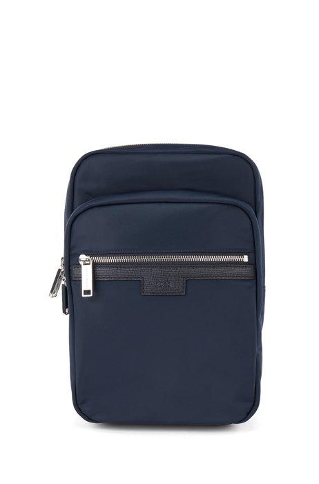 Single-strap reporter bag in gabardine with leather trims, Dark Blue