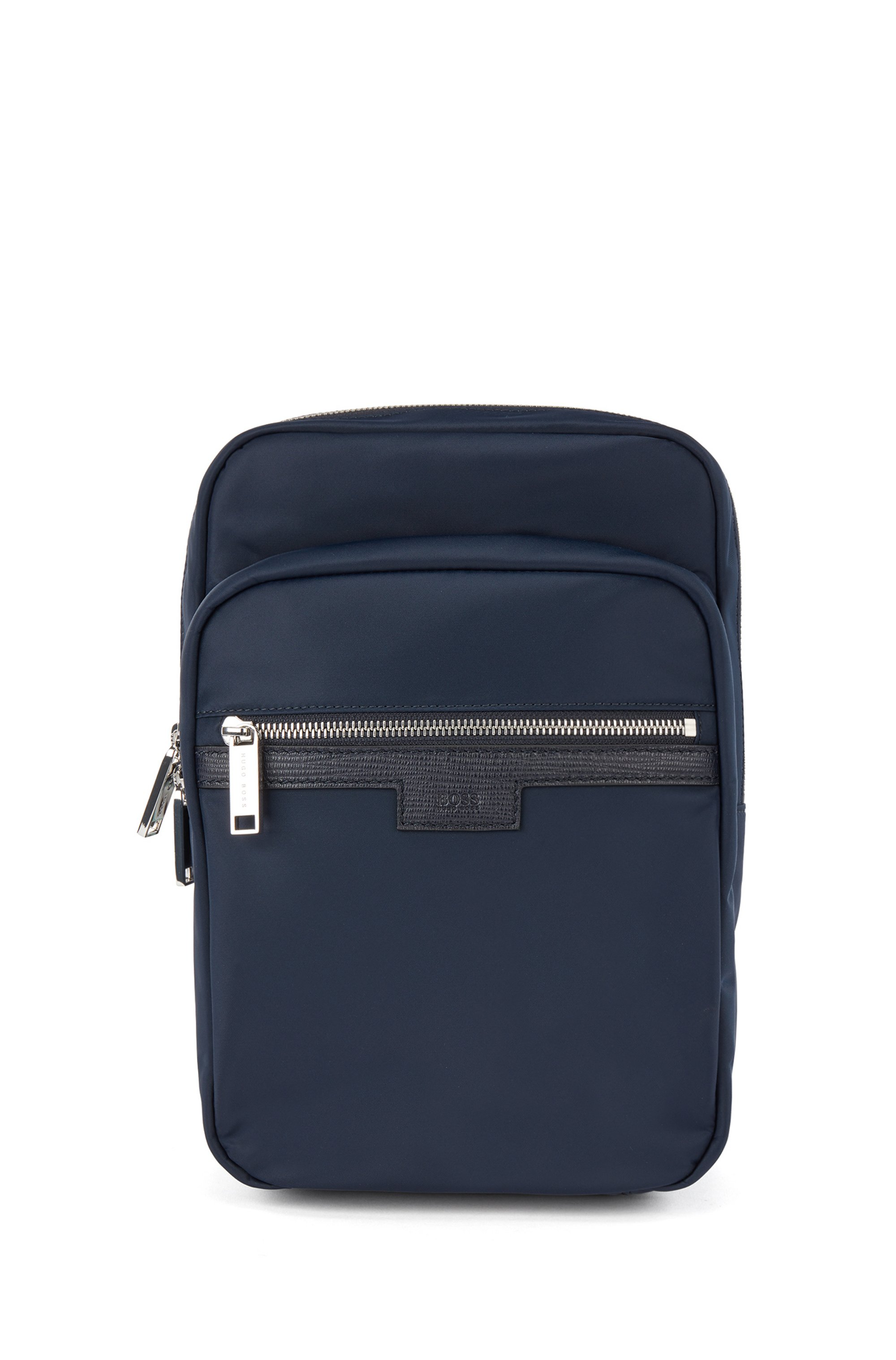 Single-strap reporter bag in gabardine with leather trims, Dark Blue