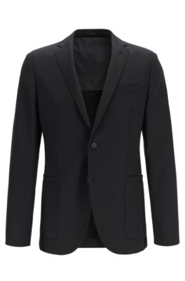 Slim-Fit Sakko mit dezentem Muster aus elastischer Schurwolle, Schwarz