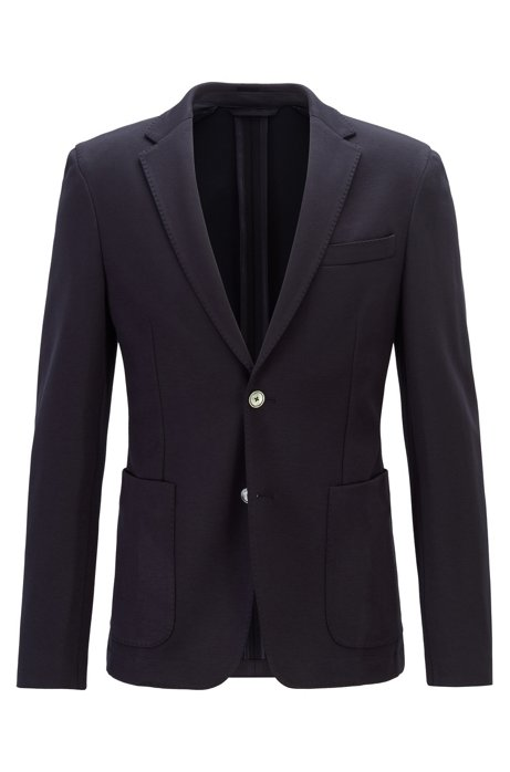 Slim-fit jacket in melange stretch fabric, Dark Blue