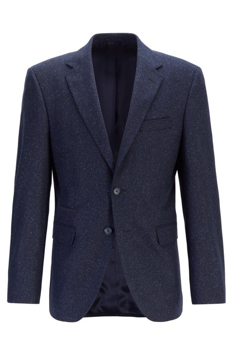 Regular-fit jacket with elbow patches and alcantara detailing, Dark Blue
