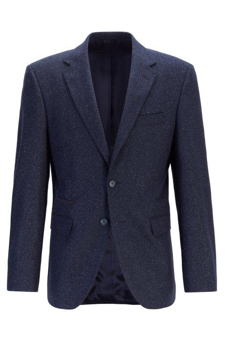 Chaqueta regular fit con coderas y detalles en tejido alcántara, Azul oscuro