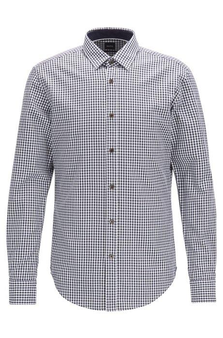 Camisa slim fit en sarga de algodón con cuadros Vichy, Azul oscuro