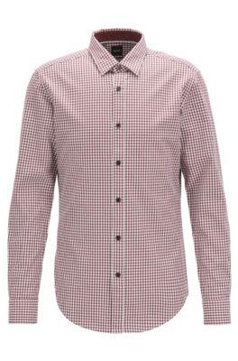 Slim-Fit Hemd aus Baumwoll-Twill mit Vichy-Karo, Dunkelrot