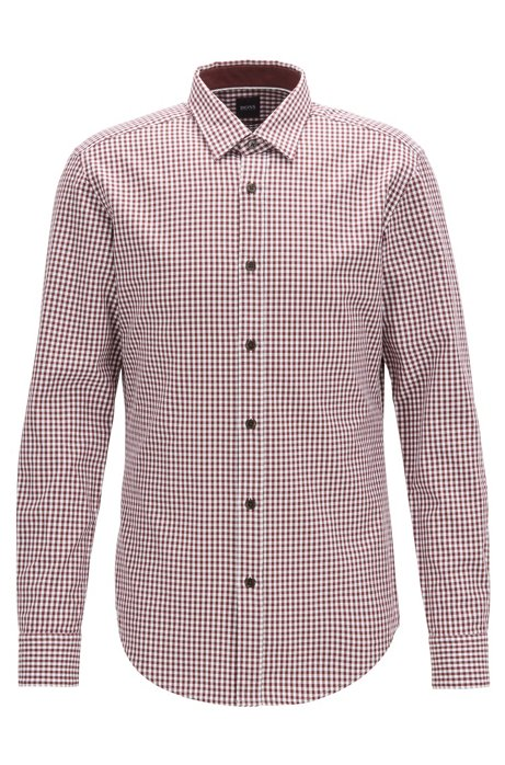 Slim-fit shirt in Vichy-check cotton twill, Dark Red