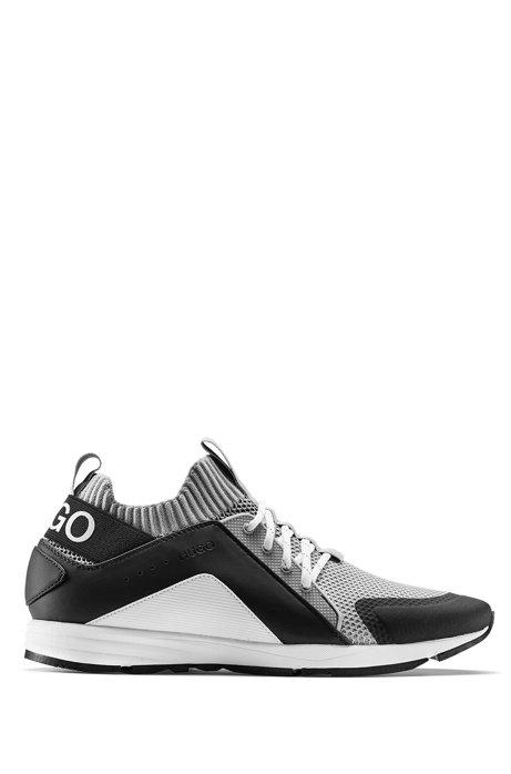 Sneakers mit Mesh-Detail, Vibram-Sohle und Strickeinsatz, Grau
