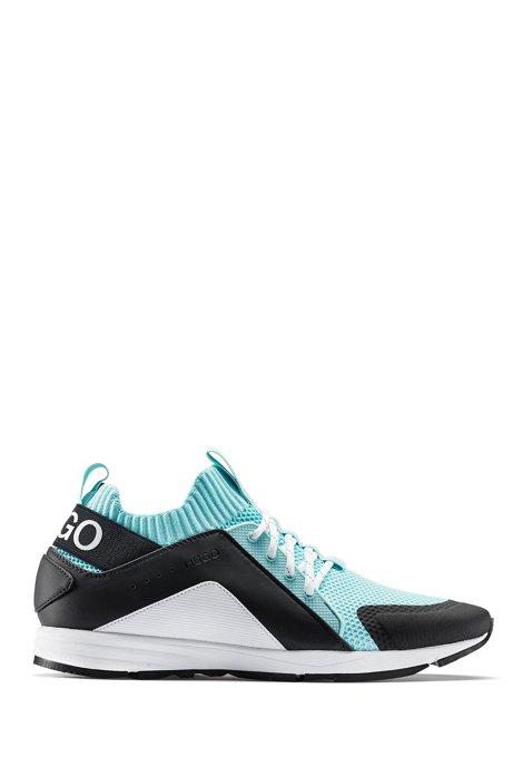 Sneakers mit Mesh-Detail, Vibram-Sohle und Strickeinsatz, Türkis