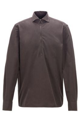 Relaxed-fit overhemd van katoenen twill met ritskraag, Donkerbruin