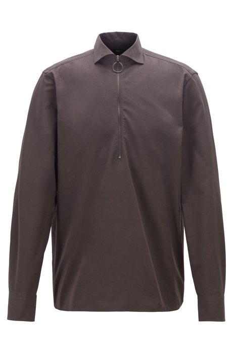 Relaxed-fit shirt in cotton twill with zipped neck, Dark Brown