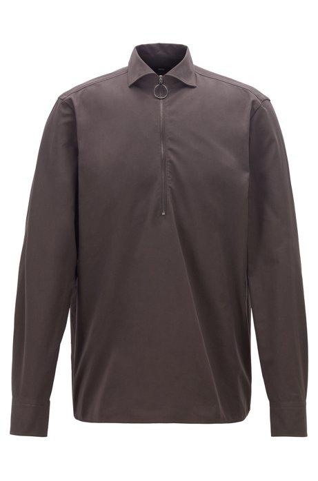 Camisa relaxed fit en sarga de algodón con cremallera en el cuello, Marrón oscuro