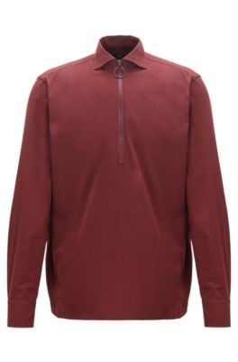 Camicia relaxed fit in twill di cotone con colletto con zip, Rosso scuro