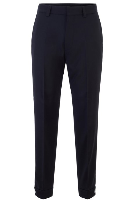 Micro-patterned relaxed-fit trousers with adjustable hems, Black