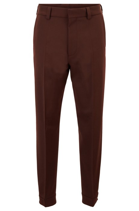 Micro-patterned relaxed-fit trousers with adjustable hems, Dark Red