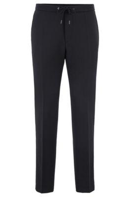 Slim-Fit Hose aus Stretch-Schurwolle mit elastischem Bund, Schwarz