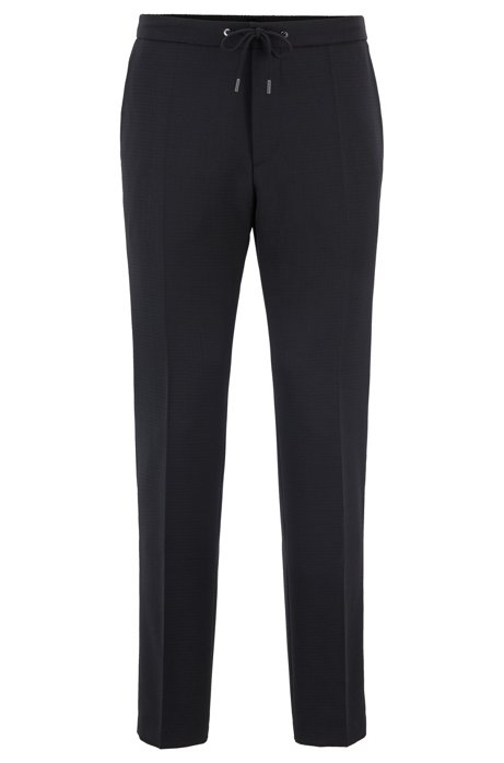 Slim-fit trousers in virgin wool with elasticated waistband, Black