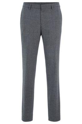 Slim-Fit Hose aus waschmaschinenfester Schurwolle, Grau