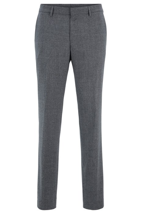 Slim-fit trousers in washable virgin wool, Grey