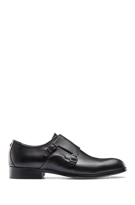 Double-strap monk shoes in burnished grained leather, Black