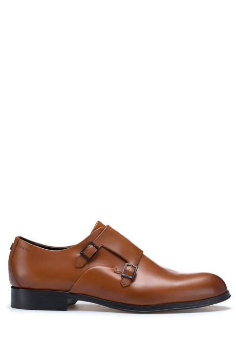 Double-strap monk shoes in burnished grained leather, Brown