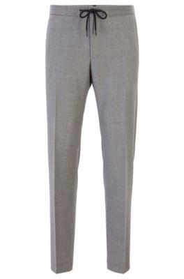 Slim-Fit Hose aus Schurwolle mit Tunnelzug am Bund, Grau