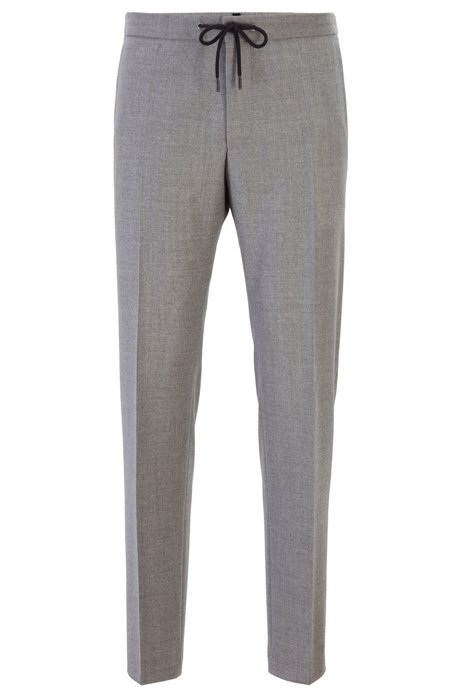 Slim-fit trousers in wool with drawstring waistband, Grey