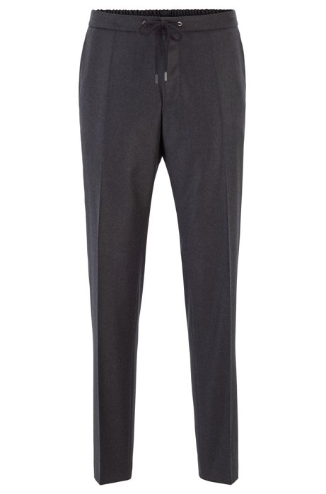 Slim-fit trousers in wool with drawstring waistband, Dark Grey