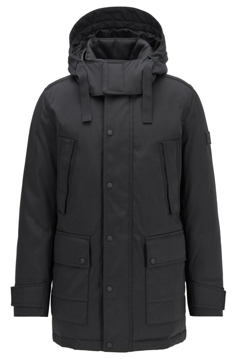 Water-repellent down jacket with contrast inner, Black
