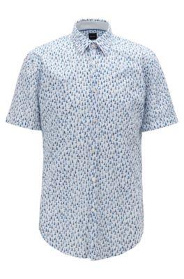 Slim-Fit Hemd aus Baumwoll-Voile mit Boot-Print, Dunkelblau