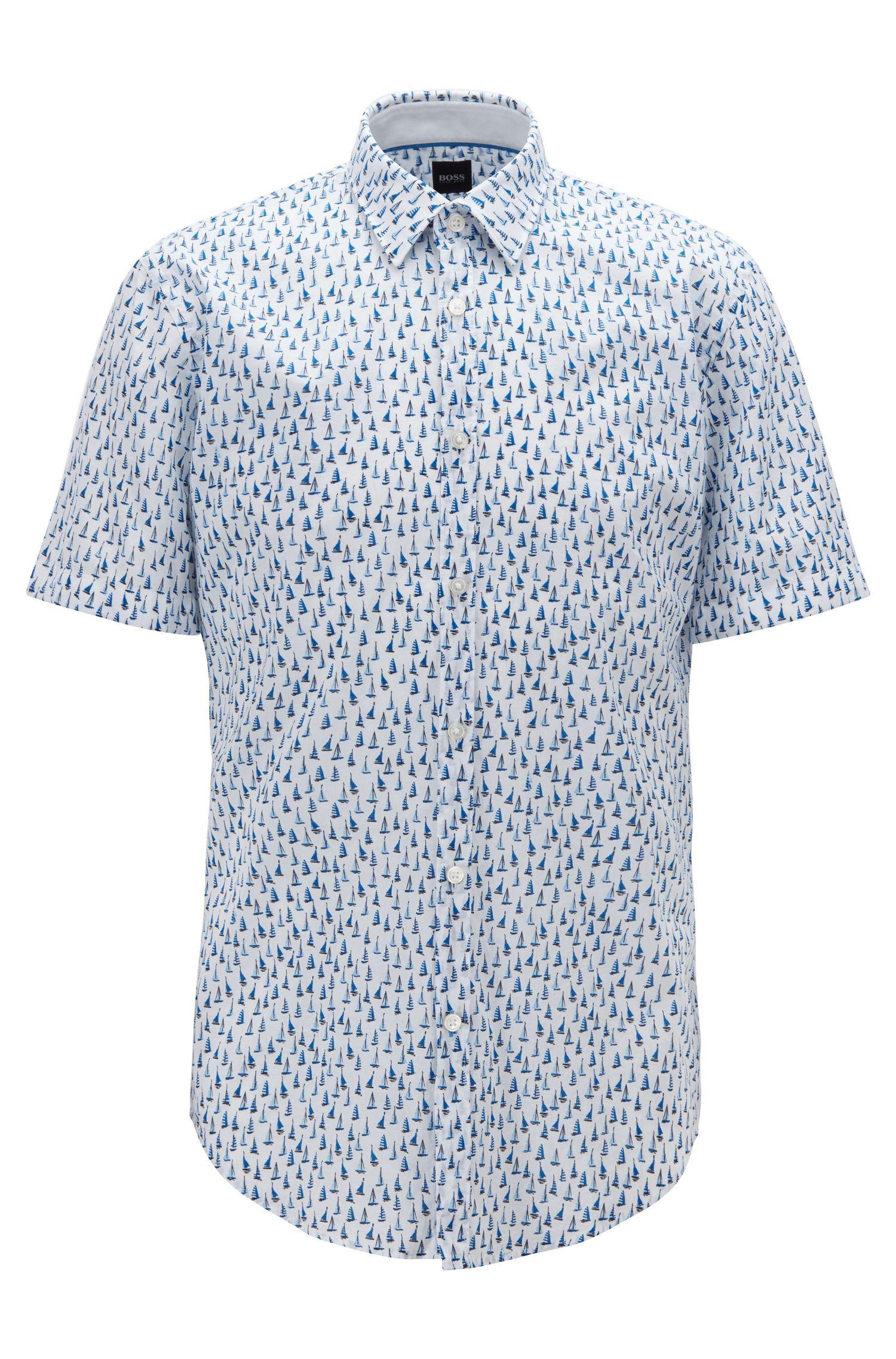 Camisa slim fit en voile de algodón con estampado de barco, Azul oscuro
