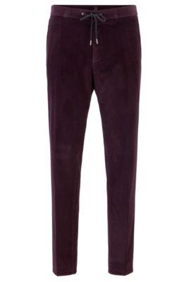 Pantalon Slim Fit en coton à taille élastique, Violet foncé